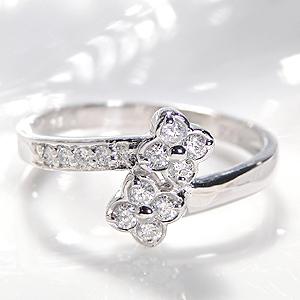 ファッション・ジュエリー・アクセサリー・レディース・指輪・リング・プラチナ・ダイヤモンド・ダイアモンド・0.2・フラワー・花・フラワーモチーフ・巻きつく・4月・誕生石・送料無料・刻印無料・品質保証書・代引手数料無料・結婚・プレゼント