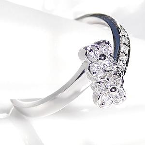 418b890fb55a ファッション·ジュエリー·アクセサリー·レディース·指輪·リング·プラチナ·ダイヤモンド·ダイアモンド·0.2·フラワー·花·フラワーモチーフ·巻きつく·4月·誕生石·送料  ...