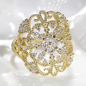 ジュエリー・アクセサリー・レディース・指輪・リング・ゴールド・イエローゴールド・ダイヤモンド・ダイヤ・0.6ct・レース・フラワー・花・ダイアモンド・ダイア・4月誕生石・プレゼント・送料無料・刻印無料・品質保証書・代引手数料無料・ミル打ち