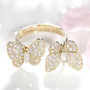 ファッション ジュエリー アクセサリー レディース 指輪 リング ゴールド イエローゴールド ダイヤモンド リング ダイヤ リング 1ct 蝶 ちょうちょ バタフライ K18 マーキス 4月誕生石 プレゼント 送料無料 刻印無料 品質保証書 代引手数料無料