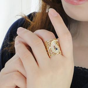 ジュエリー アクセサリー レディース 指輪 リング イエローゴールド ダイヤモンド ダイヤ 幅広リング レース 透かし ペイズリー ダイアモンド 4月誕生石 プレゼント 送料無料 刻印無料 品質保証書 代引手数料無料 アンティーク ボリューム サファイア