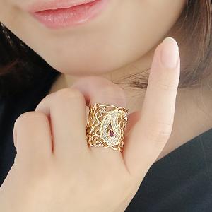 ジュエリー アクセサリー レディース 指輪 リング ルビー イエローゴールド ダイヤモンド ダイヤ 幅広リング レース 透かし ペイズリー ダイアモンド 7月誕生石 プレゼント 送料無料 刻印無料 品質保証書 代引手数料無料 アンティーク ボリューム