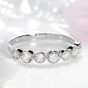ファッション ジュエリー アクセサリー レディース 指輪 リング プラチナ ダイヤ リング ダイヤモンド リング エタニティ ミル打ち ミルグレイン アンティーク クラシカル 0.5 Pt900 送料無料 刻印無料 品質保証書 代引手数料無料 重ねづけ
