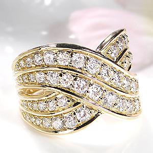 ファッション・ジュエリー・アクセサリー・レディース・指輪・ダイヤ リング・ゴールド・イエローゴールド・ダイヤモンド リング・グラデーション・刻印無料・代引手数料無料・送料無料・品質保証書・ギフト・プレゼント・4月誕生石・大ぶり・K18