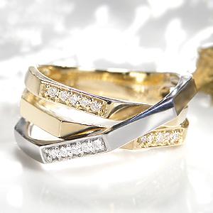 ◆Pt900/K18YG ダイヤモンド コンビ リングレディース 指輪 ダイヤ リング プラチナ ゴールド イエローゴールド コンビ ツートン ダイヤモンド リング SI 送料無料 刻印無料 品質保証書 代引手数料無料 プレゼント