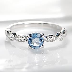◆K18WG アクアマリン ダイヤモンド リング指輪 ホワイトゴールド ダイヤモンド 18金 送料無料 刻印無料 品質保証書 3月誕生石 ギフト プレゼント 代引手数料無料 可愛い お洒落 アンティーク クラシカル ミル打ち