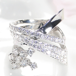 K18WG【1.50ctUP】ダイヤモンド ウエーブ リング【送料無料】【刻印無料】【品質保証書】【代引手数料無料】/ ダイヤモンドリング ダイヤリング ホワイトゴールド 幅広リング ゴールドリング ダイア 18金 指輪 ホワイトデー 1.5カラット プレゼント