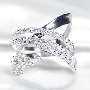 K18WG【1.30ctUP】ダイヤモンド ウエーブ リング【送料無料】【刻印無料】【品質保証書】【代引手数料無料】/ ダイヤモンドリング ダイヤリング ホワイトゴールド 幅広リング ゴールドリング ダイア 18金 指輪 ホワイトデー 1.3カラット プレゼント