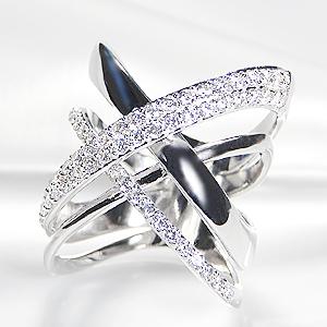 K18WG【1.00ctUP】ダイヤモンド クロス リング【送料無料】【刻印無料】【品質保証書】【代引手数料無料】/ ダイヤモンドリング ダイヤリング ホワイトゴールド 幅広リング ゴールドリング ダイア 18金 指輪 ホワイトデー 1.0カラット プレゼント