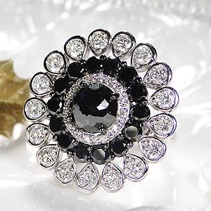 K18WG ブラックダイヤ & ダイヤモンド リング☆ブラックダイアモンド ダイヤリング 可愛いリング ゴールド リング 2.5ct 豪華 フラワー リング 大粒 大ぶり【送料無料】【刻印無料】【品質保証書】【代引手数料無料】
