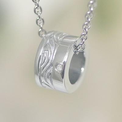 EVE(イヴ) ステンレス ペア ネックレス 【メンズ・1本販売】(シルバー色) ミラー仕上げ ステンレスx アラベスク模様xダイヤモンド送料無料 ふたりの絆 送料無料
