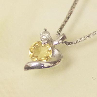 ホワイト ゴールド 誕生石 ネックレス 11月 シトリン ダイヤモンド ペンダント K10WG ★幸せの絆★【あす楽対応】 幸せをはこぶ誕生石 記念日 誕生日 【送料無料】