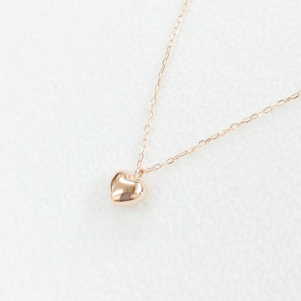 ピンクゴールド ハートネックレス PGK18製 ぷっくりとしたハートネックレス 可愛い KAWAII 記念日 ハート