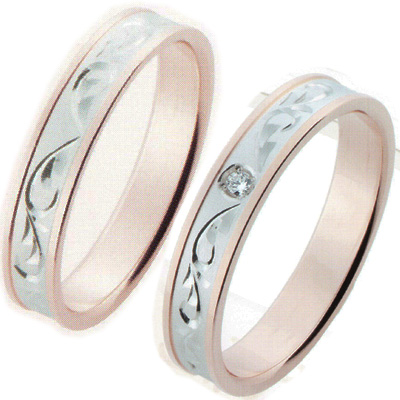 Wedding Ring Rings White Gold 18kt Pink Pairing Joy Joist K10wgpg Cursive Chinese Ok Shortest Day Shipping Memorial