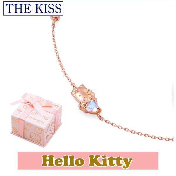 【ハローキティxTHE KISSコラボ】 HELLO KITTY ブレスレット 18cm THE KISS sweets K10 ピンクゴールド ブレスレット ロイヤルブルームーンストーン x ピンクサファイア リボン ハート KITTY-31DM ホワイトデーホワイトデー ホワイトデー