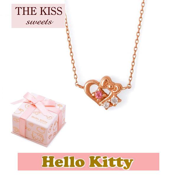 【HELLO KITTYxTHE KISS ザ キッスコラボ】 THE KISS ザ キッス Sweets ピンクトルマリン x クォーツ K10 ピンク ゴールド ネックレス レディース 40cm ハロー キティー THEKISSネックレス KITTY-30PT 記念日 ホワイトデー ホワイトデー