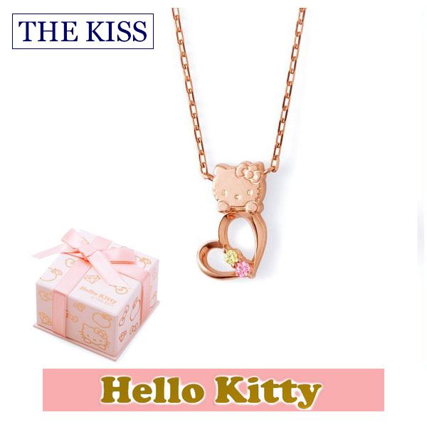 【ハローキティ×THE KISS ザ キッスコラボ】 THE KISS ザ キッス シルバー ブランド ネックレス 【レディース販売】 SV925製 ピンクコーティング x キュービックジルコニア KITTY-16CB 記念日 ホワイトデー ホワイトデー