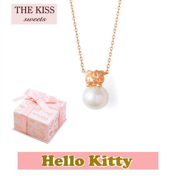 【HELLO KITTYxTHE KISS ザ キッスコラボ】 THE KISS ザ キッス Sweets ダイヤモンド x パール K10 ピンク ゴールド ネックレス レディース 40cm THEKISSネックレス KITTY-39DM ホワイトデー ホワイトデー