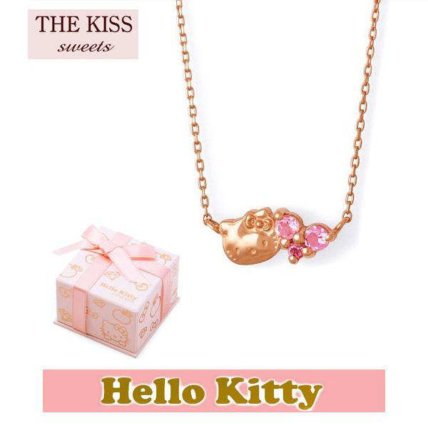 【HELLO KITTYxTHE KISSコラボ】 THE KISS Sweets ピンクトルマリン K10 ピンク ゴールド ネックレス レディース 40cm ハロー キティー ハート THEKISSネックレス KITTY-29PT  記念日 ホワイトデー ホワイトデー