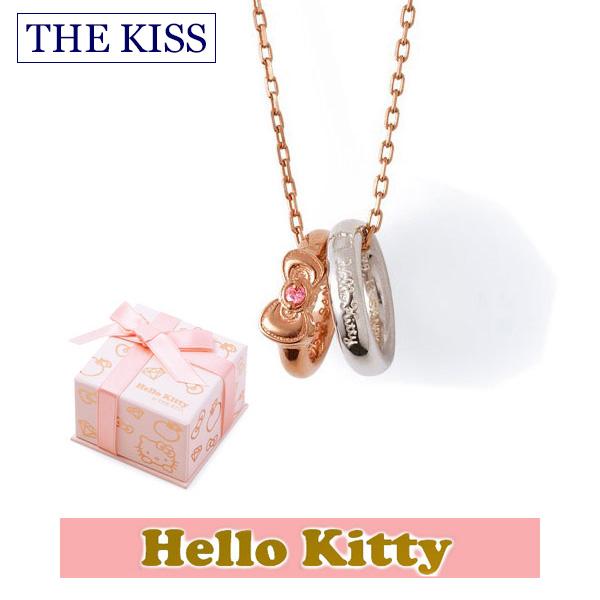 ハロー キティー THE KISS ザ キッス シルバー ブランド ネックレス 【レディース販売】 SV925製 リボンモチーフ ピンクコーティング x キュービックジルコニア KITTY-20CB 記念日 ホワイトデー ホワイトデー