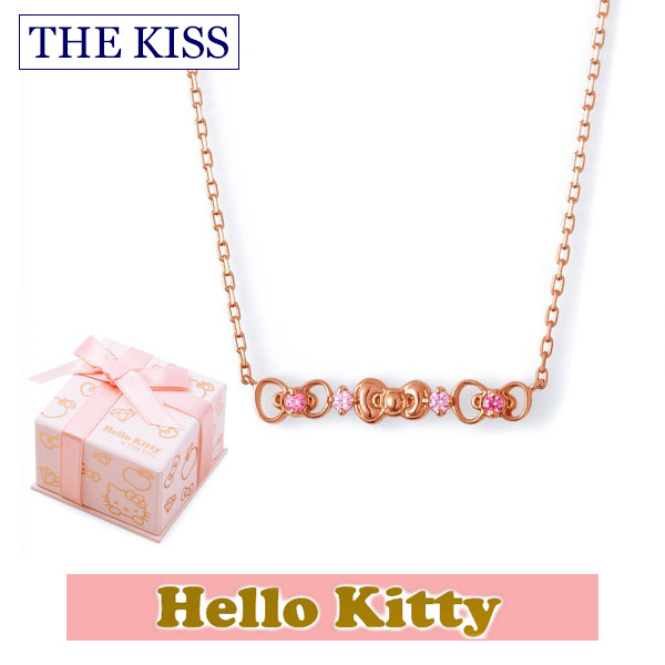 【ハローキティ×THE KISS ザ キッスコラボ】 THE KISS ザ キッス シルバー ブランド ネックレス 【レディース販売】 SV925製 リボンモチーフ ピンクコーティング x キュービックジルコニア KITTY-14CB 記念日 ホワイトデー ホワイトデー