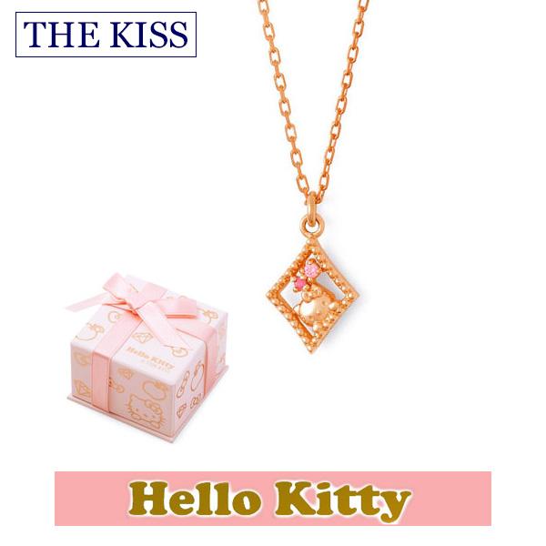 【ハローキティ×THE KISS ザ キッスコラボ】 THE KISS ザ キッス シルバー ブランド ネックレス 【レディース販売】 SV925製 ピンクコーティング x キュービックジルコニア KITTY-38CB 記念日 ホワイトデー ホワイトデー
