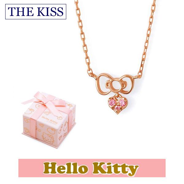 【ハローキティ×THE KISS ザ キッスコラボ】 THE KISS ザ キッス シルバー ブランド ネックレス 【レディース販売】 SV925製 リボンモチーフ ピンクコーティング x キュービックジルコニア KITTY-24CB 記念日 ホワイトデー ホワイトデー