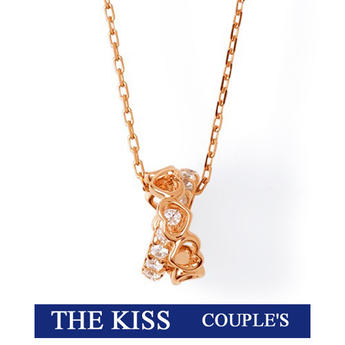 THE KISS ザ キッス シルバー ブランド ネックレス レディース【Swarovski Zirconia】 ピンク ゴールド コーティング ハート キュービック 記念日 クリスマス ホワイトデー