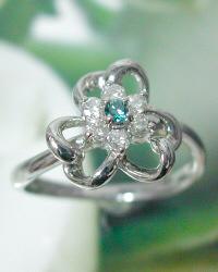 プラチナ ブルーダイヤモンド&ダイヤモンド 0.25カラット リング (天然石) 花かごの中にはブルーダイヤモンドがキュート