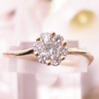 ピンク ゴールド ダイヤモンドリング K18PG ピンクゴールドとダイヤモンドのお花がとても綺麗で可愛らしいリング!!