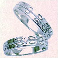 결혼 반지 결혼 반지 페어링 화이트 골드 K10WG로 만들어진 깨끗 한 글자로 표기! 컴퓨터 마킹 ♪ 로맨틱 한 느낌의 하트 무늬 무늬 결혼 기념일 화이트 데이에 두 사람의 인연.