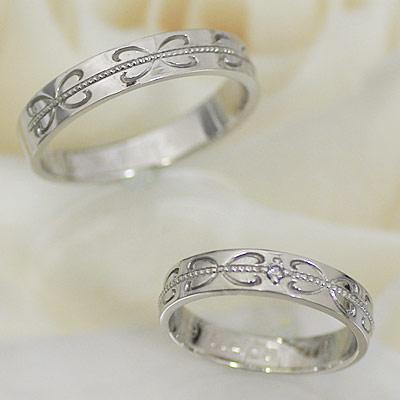 結婚指輪 マリッジリング ホワイトゴールド ペアリング レディース ダイヤモンド K10WG製 【ペア価格】 コンピュータ刻印☆きれいな刻印が入ります 結婚記念日 ホワイトデー ★ [ジュエリー大賞ショップ1位] 安い
