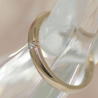 結婚指輪 マリッジリング ピンク ゴールド ペアリング ダイヤ 【レディース販売】 K10PG製 きれいな字で刻印!コンピュータ刻印♪ 鏡面仕上げ (納期3週間程度) [ジュエリー大賞ショップ1位] ホワイトデー 安い