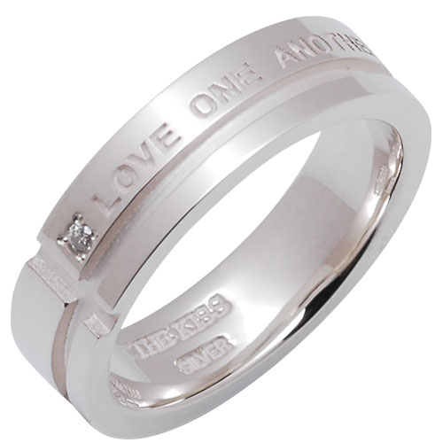 THE KISS シルバー メッセージ ペアリング 【レディス】 SV925製 ダイヤモンド-刻印- LOVE ONE ANOTHER(お互いを愛してる)きれいな字で刻印!コンピュータ刻印 記念日 ホワイトデー★ふたりの絆★