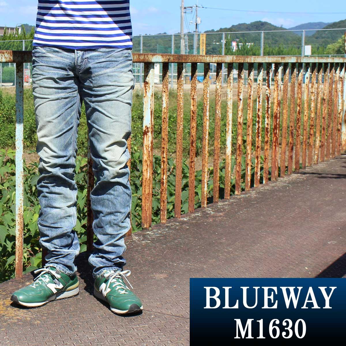 BLUEWAY:ビンテージデニム・エンジニアインカットジーンズ(シェーバーフェード):M1630-5705 ブルーウェイ ジーンズ メンズ デニム ジーパン 裾上げ