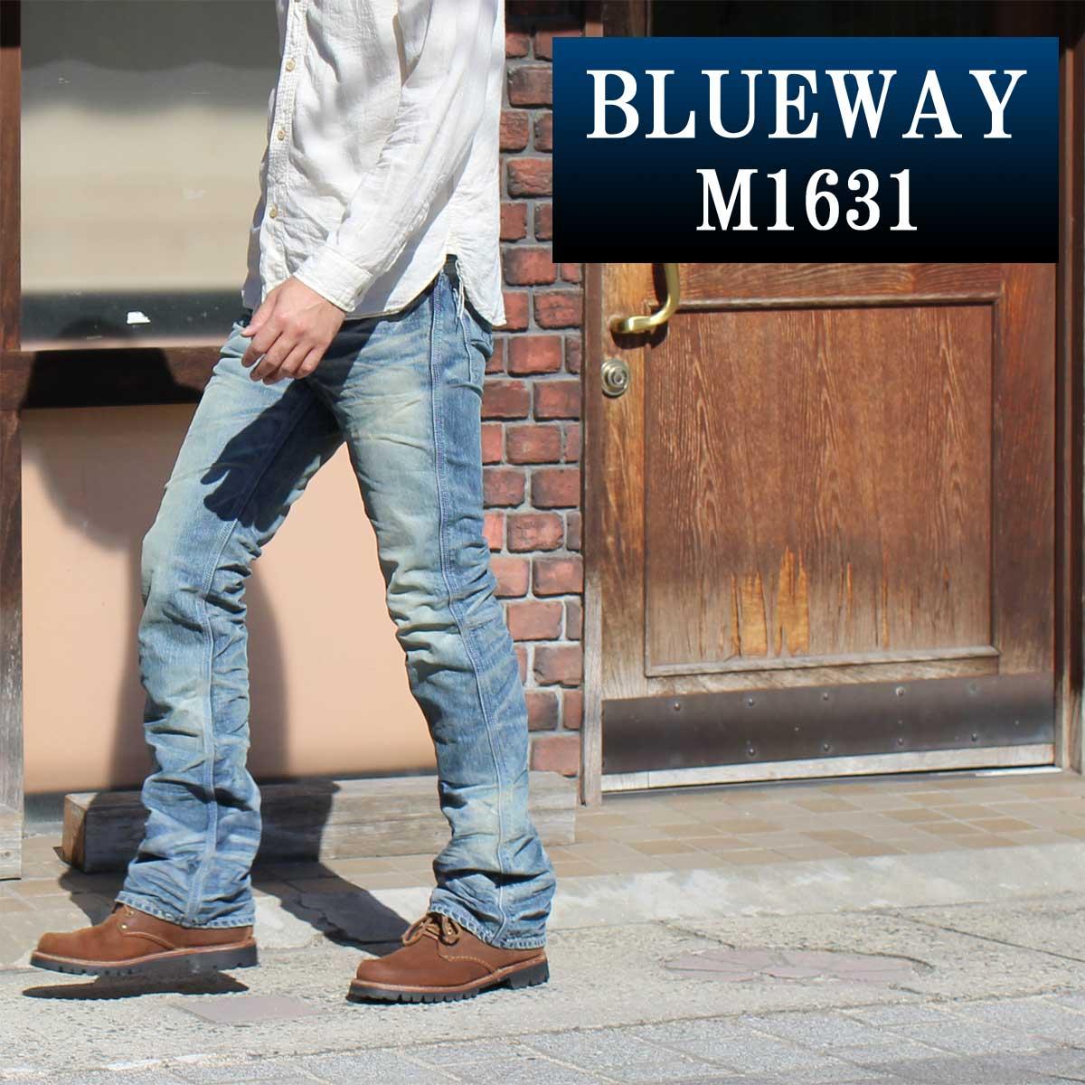 ブーツカットジーンズ;BLUEWAY:ビンテージデニム・エンジニア フレアカットジーンズ(シェーバーフェード):M1631-5705 ブルーウェイ ジーンズ メンズ デニム ジーパン 裾上げ