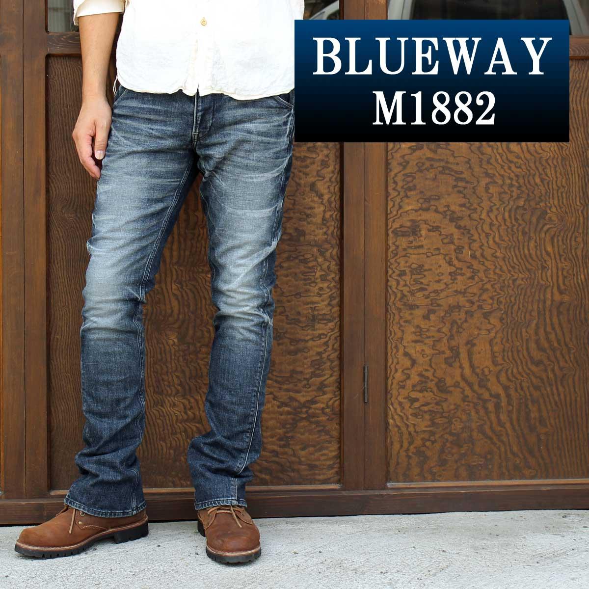 BLUEWAY:ソリッドストレッチデニム・セミブーツカットジーンズ(オーバーエイジング):M1882-5305 ブルーウェイ ジーンズ フレア メンズ デニム 裾上げ