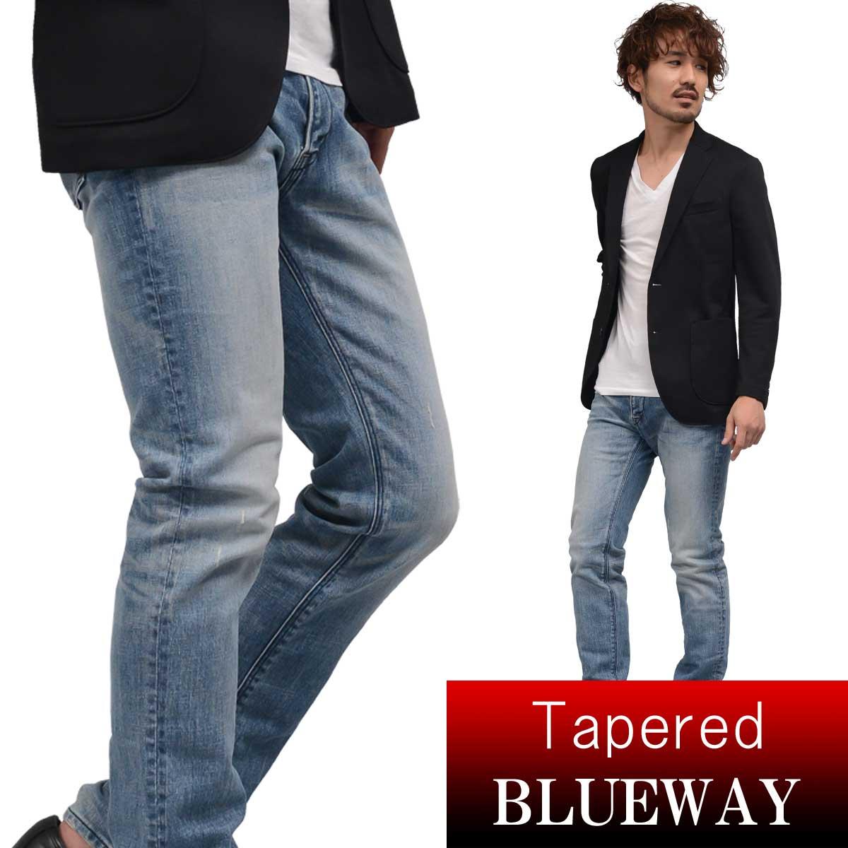 BLUEWAY:ソリッドストレッチデニム・レギュラーテーパードジーンズ(ハードビンテージ):M1881-5504 ブルーウェイ ジーンズ メンズ デニム 裾上げ