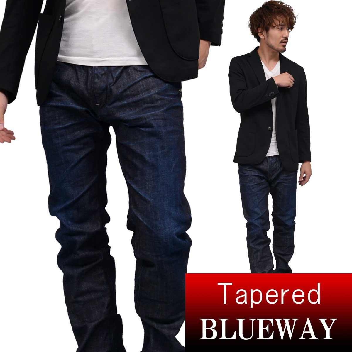BLUEWAY:ソリッドストレッチデニム・レギュラーテーパードジーンズ(ダークビンテージ):M1881-4100 ブルーウェイ ジーンズ メンズ デニム 裾上げ