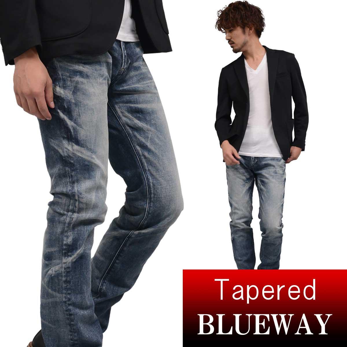 BLUEWAY:ソリッドストレッチデニム・レギュラーテーパードジーンズ(オーバーエイジング):M1881-5305 ブルーウェイ ジーンズ メンズ デニム ジーパン 裾上げ