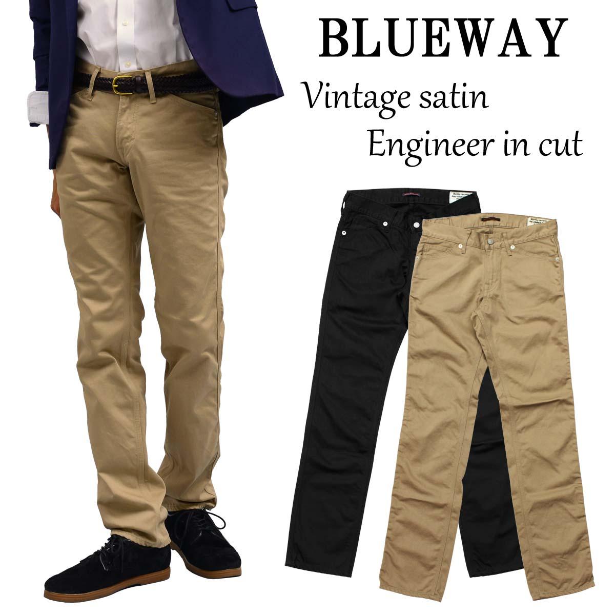 BLUEWAY:ビンテージサテン・エンジニアインカットパンツ(ワンウォッシュ):M1632 ブルーウェイ パンツ メンズ サテン チノパン 裾上げ