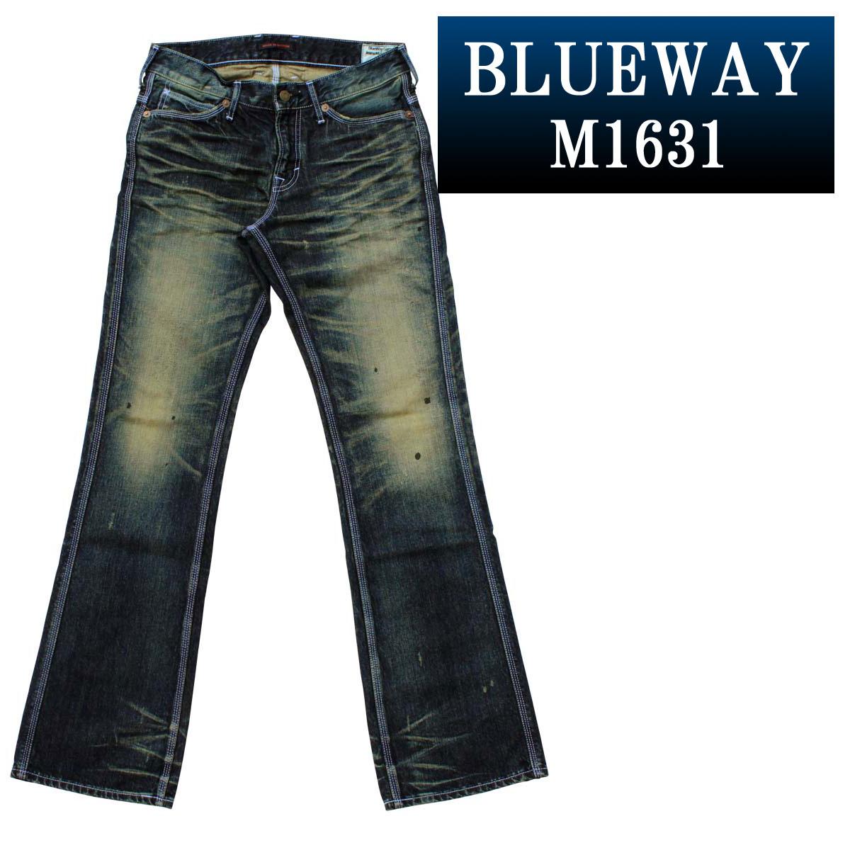 ブーツカットジーンズ;BLUEWAY:ビンテージデニム・エンジニア フレアカットジーンズ(モーターサイクル):M1631-6155 ブルーウェイ ジーンズ ブーツカット メンズ デニム 裾上げ