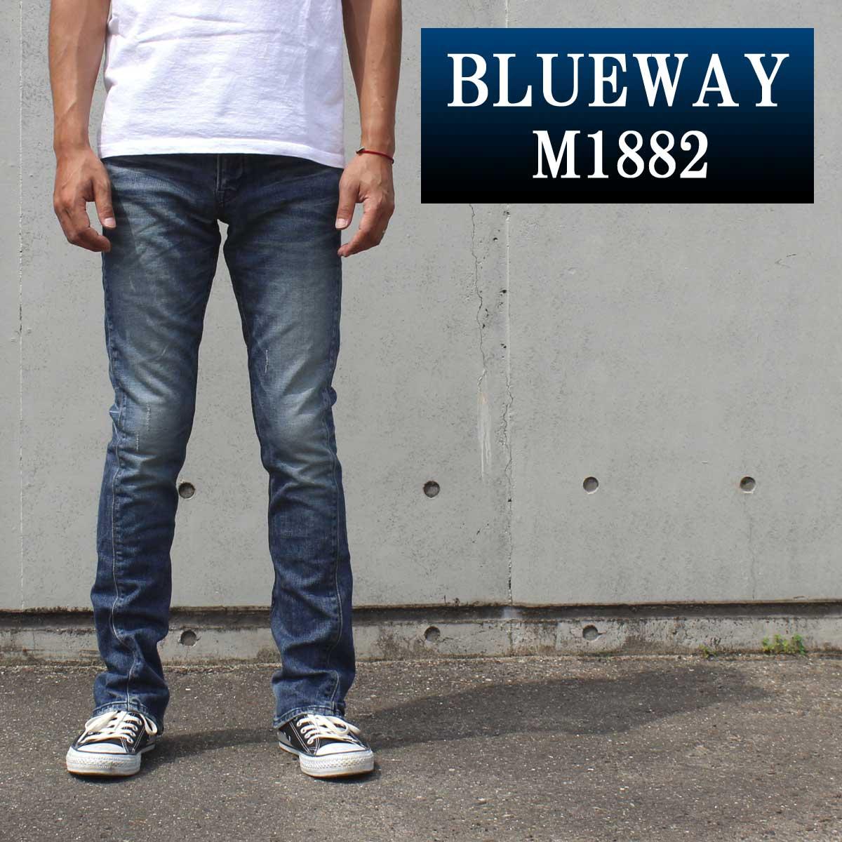 BLUEWAY:ソリッドストレッチデニム・セミブーツカットジーンズ(ハードビンテージ):M1882-5504 ブルーウェイ ジーンズ フレア メンズ デニム ジーパン 裾上げ