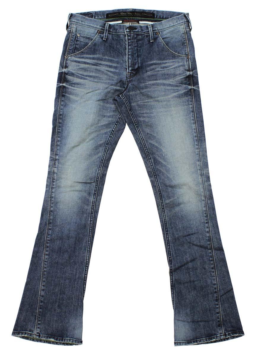 2792f468096 ... BLUEWAY: Solid stretch denim semi-bootcut jeans (hard vintage): M1882-  ...