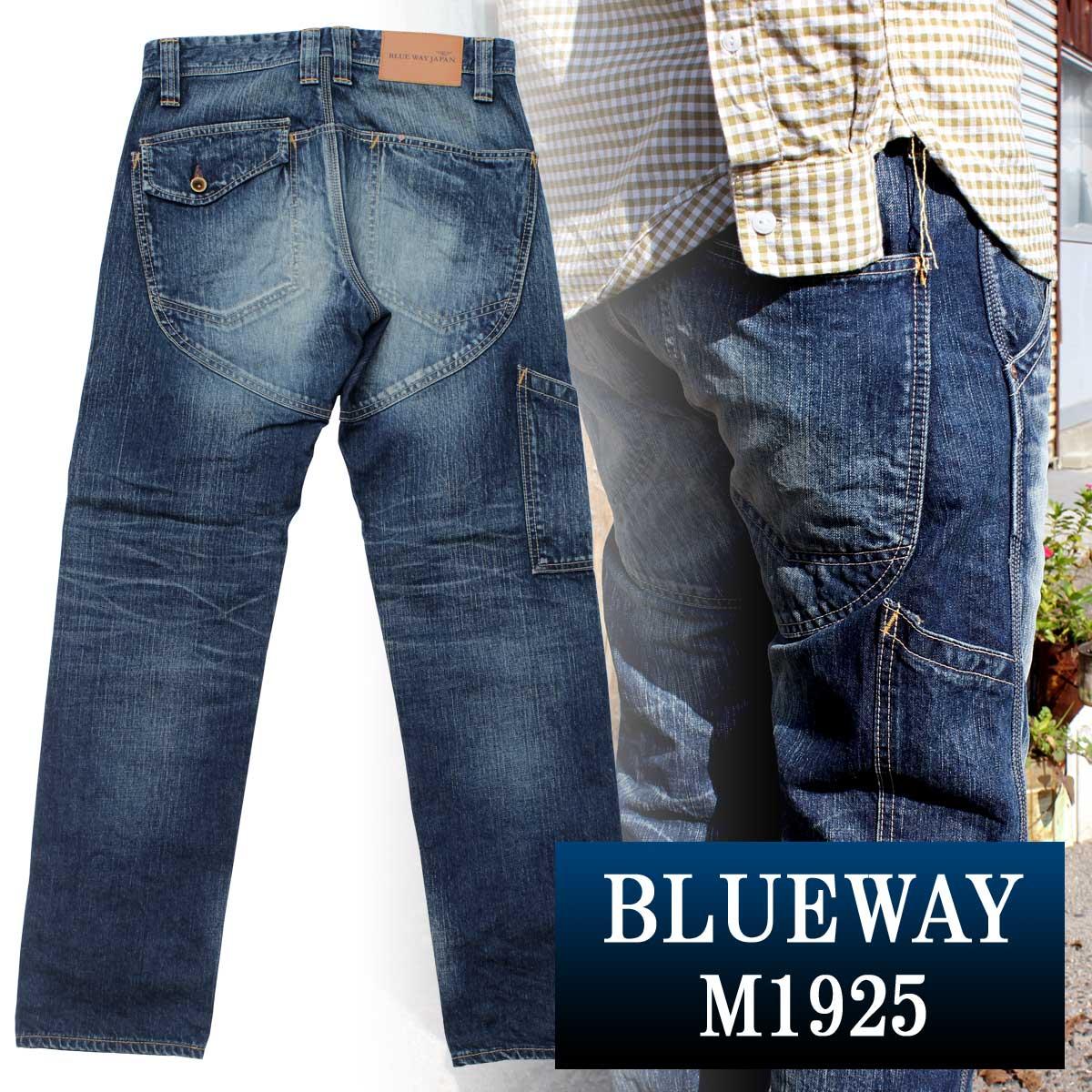 BLUEWAY:13.5ozビンテージデニム・ロガー ワークパンツ(オールドブルーブリーチ):M1925-4654 ブルーウェイ ジーンズ メンズ デニム ジーパン 裾上げ ストレート