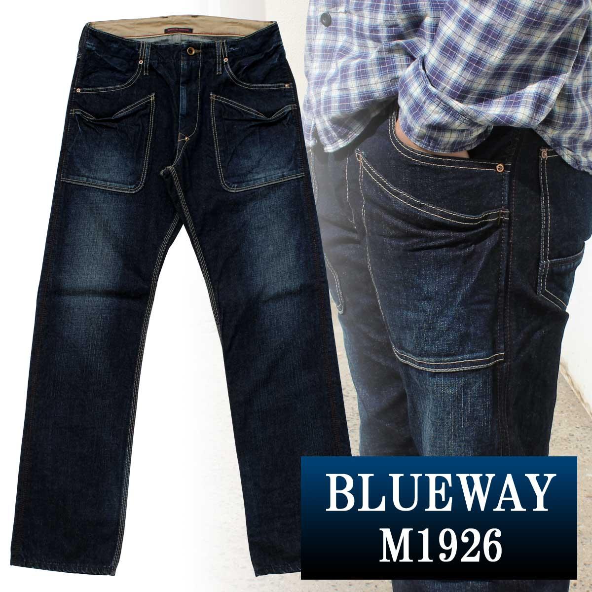 BLUEWAY:13.5ozビンテージデニム・6Pワークパンツ(オールドブルー):M1926-4450 ブルーウェイ ジーンズ メンズ デニム 裾上げ ストレート