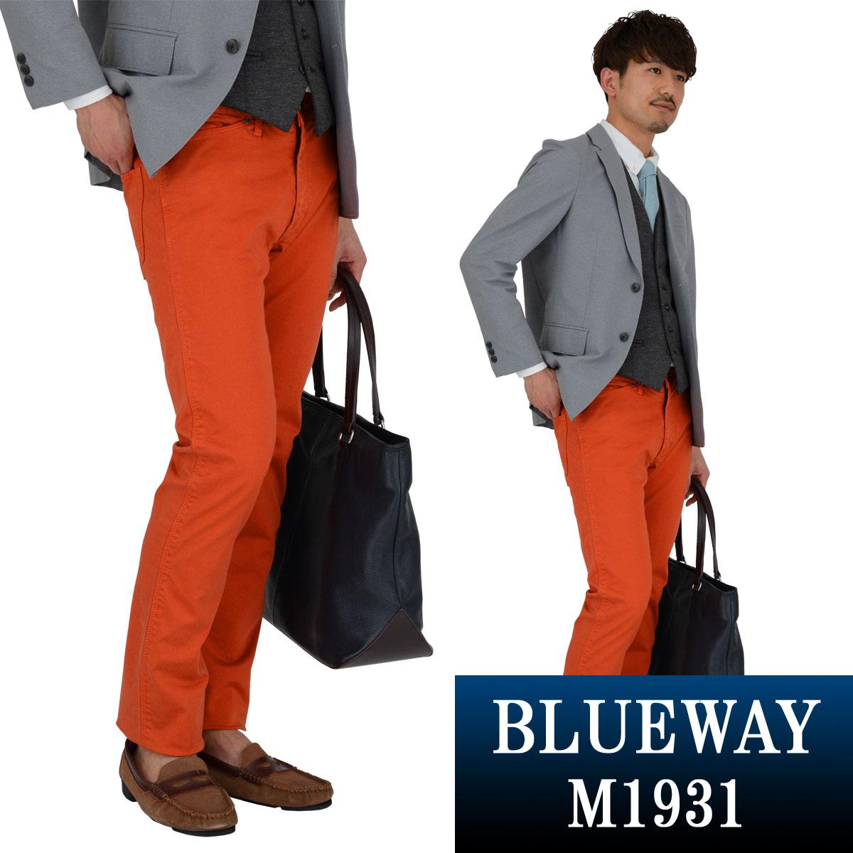 BLUEWAY:コーマストレッチサテン・タイトストレート パンツ(オレンジ):M1931-16 ブルーウェイ メンズ 裾上げ