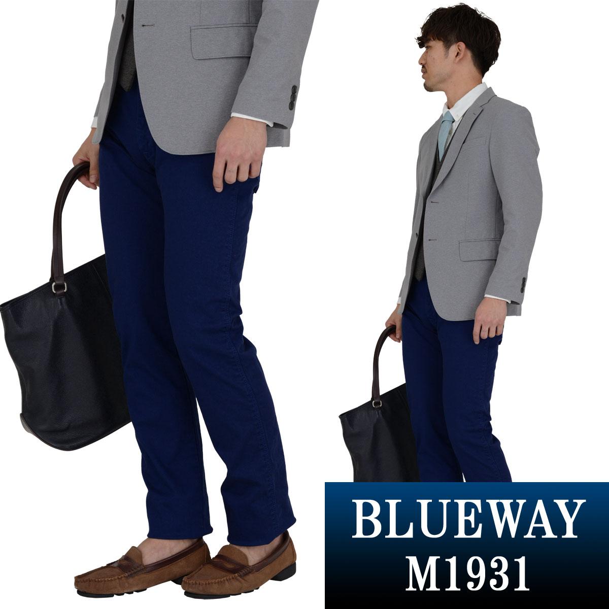BLUEWAY:コーマストレッチサテン・タイトストレート パンツ(ネイビー):M1931-35 ブルーウェイ メンズ 裾上げ