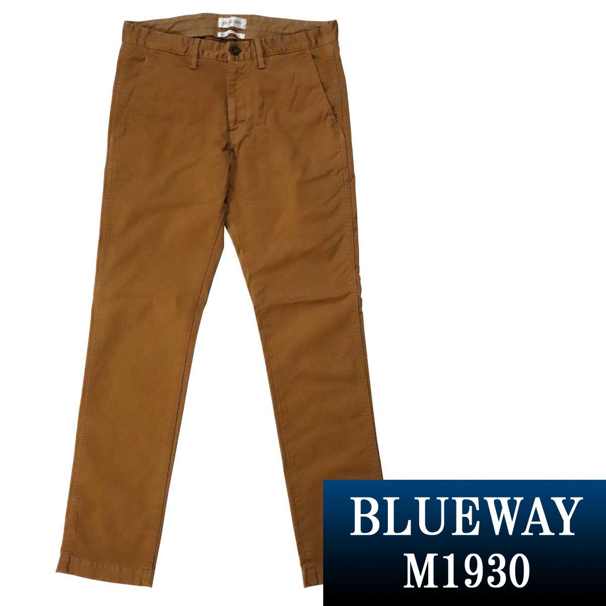 BLUEWAY:コーマストレッチサテン・トラウザーズ(ゴールド):M1930-23 ブルーウェイ パンツ メンズ 裾上げ