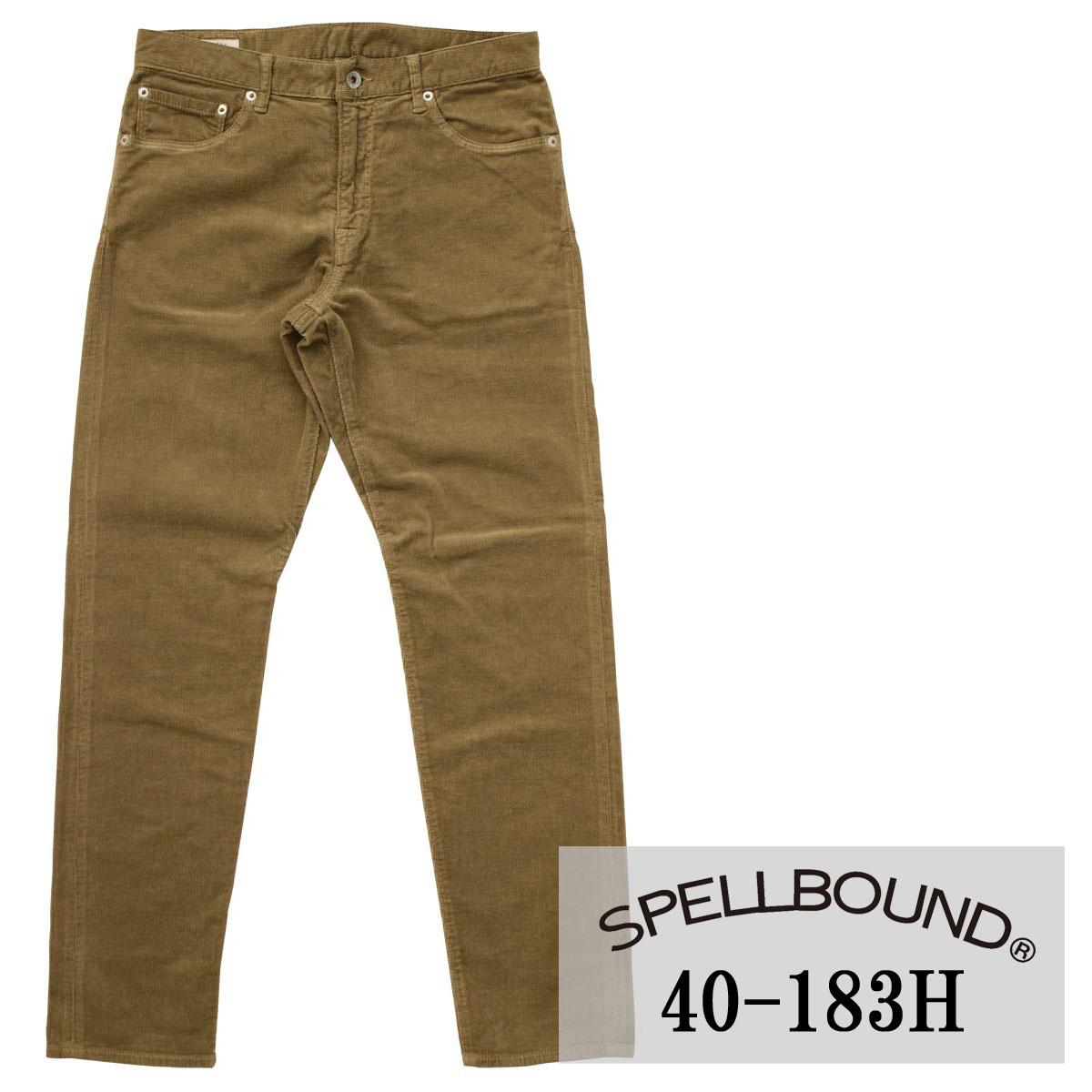SPELLBOUND:ストレッチ コーデュロイ 5P スリムパンツ(モカブラウン):40-183H スペルバウンド メンズ 裾上げ 冬用 冬服